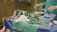 Medium panning shot of nurse checking medical equipment after childbirth / Midvale, Utah, United States