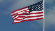 Medium shot American flag waving in wind/ Oregon