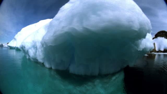 Medium shot Boat point of view moving past iceberg / Greenland