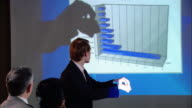 Medium shot businessman standing up during presentation in board room, making hand shadows on screen with bar graph/ New York, New York
