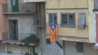 Medium Shot Catalonia independence flags views in old town Girona shot on Dec 13th 2013