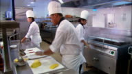 Medium shot chefs (or culinary students) working in kitchen / gathering around head chef and talking / Auckland