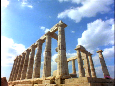1996 Medium shot Clouds floating above ruins of ancient Greek temple/ Greece