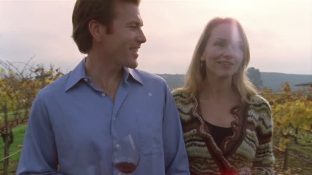 Medium shot couple walking in vineyard, drinking wine and talking/ couple kissing/ Napa Valley, California