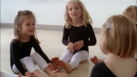 Medium shot dolly shot girls wearing leotards doing head and arm movements in ballet class