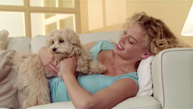 Medium shot girl lying on sofa, holding and petting Maltese-Toy Poodle mix