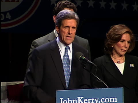 2004 medium shot John Kerry speaking to the DNC / telling Bush to 'Bring it on' / Washington DC