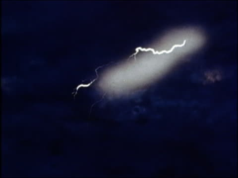 1975 medium shot lightning bolts during thunderstorm / animated Zeus holding lightning bolts / AUDIO