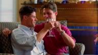 Medium shot male couple sitting on sofa, drinking toast with glasses of wine