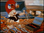 ANIMATION medium shot man sitting in treasure chest w/bird lights cigar / cigars explode / AUDIO