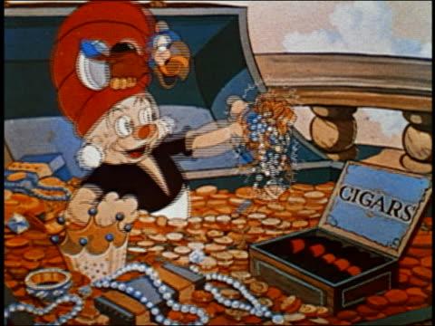 ANIMATION medium shot man sitting in treasure chest w/bird lights cigar / cigars explode / AUDIO