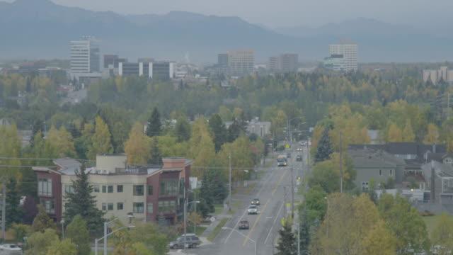 Medium shot of Anchorage cityscape