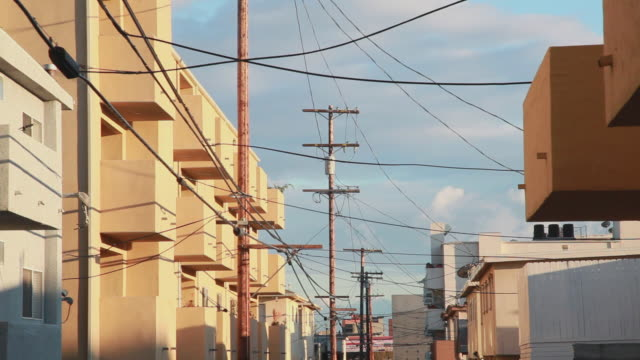 Medium Shot of apartment complexes in Venice Beach, Los Angeles