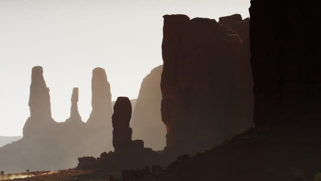 Medium shot of silhouetted rock formations in Monument Valley / Monument Valley, Utah, United States,