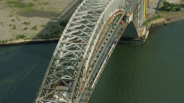 Medium shot of the Bayonne Bridge under construction