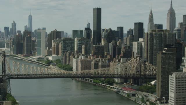Medium shot of the Queensboro Bridge with high-rise buildings in Manhattan