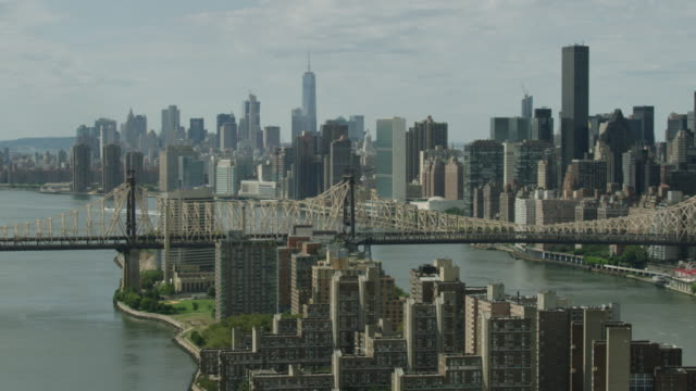 Medium shot of the Roosevelt Island and the Queensboro Bridge with Manhattan buildings in the background