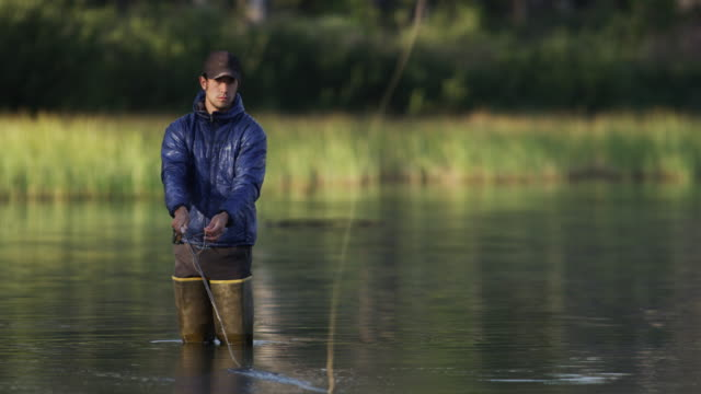 Medium shot of young man fly-fishing in lake / Redfish Lake, Idaho, United States