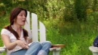 Medium shot panning women sitting in adirondack chairs flipping through magazines and talking