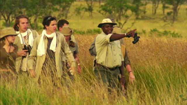 Medium shot people on safari walking in grass with guide pointing / Singita Game Reserve, South Africa
