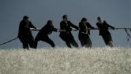 Medium shot swish pan businesspeople playing tug of war in field