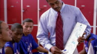 Medium shot teenage basketball players and coach discussing plays on white board in locker room