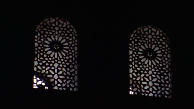 Medium shot windows at Courtyard of Lions/ Alhambra, Spain