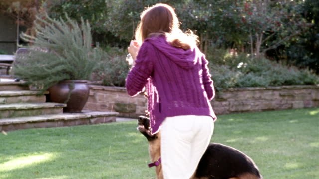 Medium shot woman blowing bubbles / German shepherd jumping up and bursting bubbles