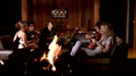 Medium shot. Young couples drinking wine and talking near fireplace.