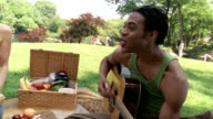 Medium shot young man playing guitar during picnic in park / young woman feeding him strawberry / New York