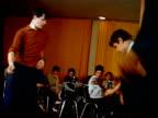 1967 medium shot young men dancing the twist in cafe / Kiev, Ukraine