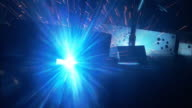 Medium tilt-down - Sparks fly as robots weld in a factory. / Florida, USA