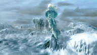 Medium tracking-right - The torch of the Statue of Liberty protrudes above a frozen sea in a computer-generated animation. / New York City, New York, USA