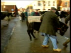 EU Meetings NIGHT Purmerend Market BV Man leading cow along BV Cow's bottom as man stands and walks around it LMS Man leading cow along MS Cow's head...