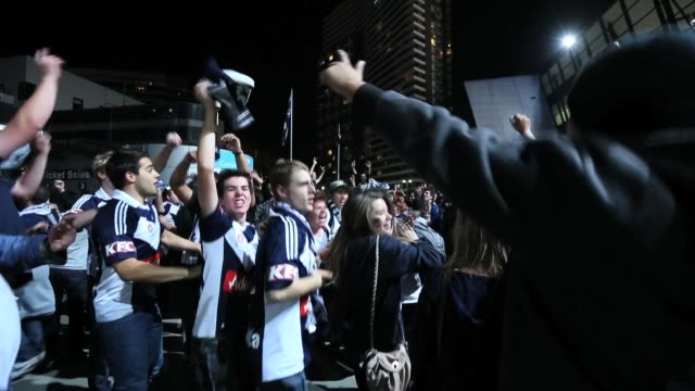 Melbourne Victory fans celebrate winning the ALeague Elimination final match between Melbourne Victory and Perth Glory at Etihad Stadium on April 5...