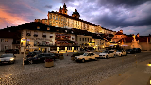Melk Abbey as seen from town square twilight