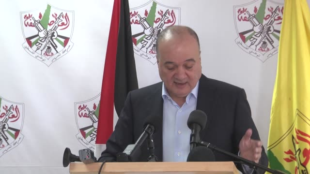 Member of the Executive Committee of the Liberation Organization Nasser AlQudwa delivers a speech during a press conference in Ramallah West Bank on...
