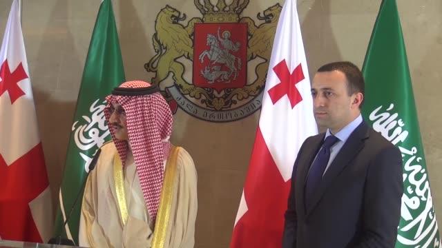 Member of the Saudi royal family AlWaleed Bin Talal bin Abdulaziz al Saud attends a press conference with Georgian Prime Minister Irakli Garibashvili...