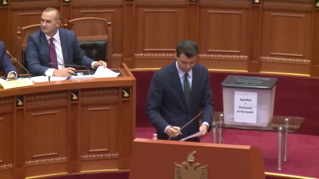 Members of Albanian Parliament vote for the new parliament speaker in Tirana Albania on September 09 2017 Gramoz Ruci of the leftwing Socialist Party...
