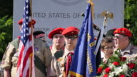 Members of Boy Scouts Bloomington Troop 148 stand behind the colors during Memorial Day ceremonies at Valhalla Memory Gardens May 29 2017 in...