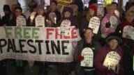 Members of Jews United Against Zionism and members of Code Pink protest outside the Washington Convention Center where the American Israel Public...