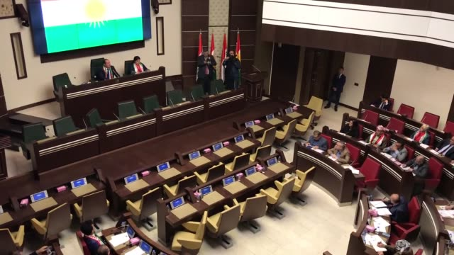 Members of parliament of Iraq's Kurdish Regional Government attend a session as it reopens after two years in Erbil Iraq on September 15 2017