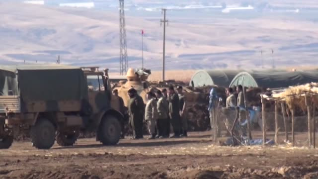 Members of Turkish and Iraqi Armed Forces take part in the ongoing joint military exercise on the TurkishIraqi border near Habur border gate in...