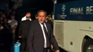 Members of UEFA departing hotel in Berlin including David Gill Michel Platini Senes Erzik UEFA Second VicePresident Angel Maria Villar Llona and...