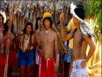 Members of Umahara tribe wearing headdresses and looking at camera Amazon Rainforest Brazil