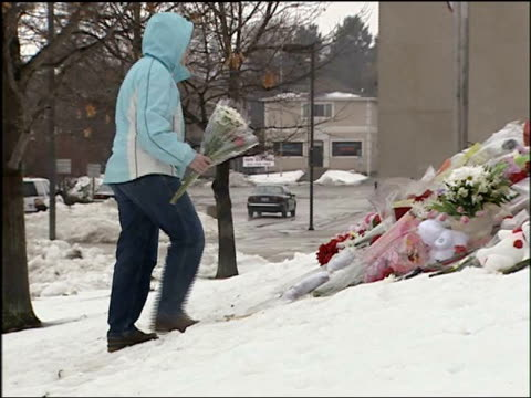 Memorial for the victims of the shooting at Northern Illinois University People Putting Flowers At NIU Shooting Memorial on February 15 2008 in...