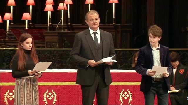 Memorial service held for Paddington author Michael Bond ENGLAND London St Paul's Cathedral INT Hugh Bonneville and Paddington costars Madeleine...