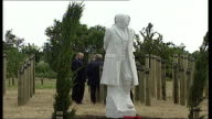 Memorial to executed soldiers unveiled ENGLAND Staffordshire Alrewas EXT MS War memorial statue of blindfolded teenage soldier ZOOM