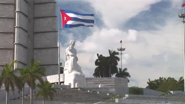 WS Memorial to Jose Marti with Cuban Flag / Havana City, Havana, Cuba