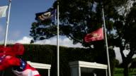 Memorial with U.S. Marine Flag Flying at Half-Mast